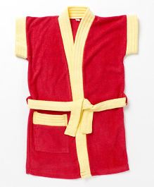 Pebbles Half Sleeves Bathrobe - Red & Yellow