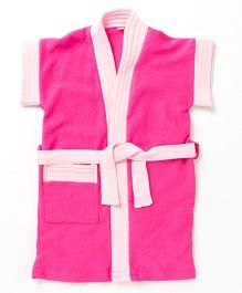 Pebbles Half Sleeves Bathrobe - Bright Pink