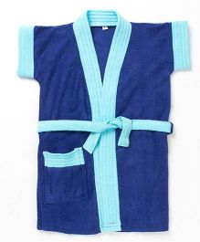 Pebbles Half Sleeves Bathrobe - Navy Blue & Light Blue