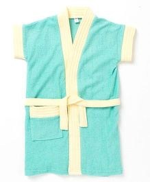 Pebbles Half Sleeves Bathrobe - Green & Yellow