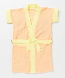 Pebbles Half Sleeves Bathrobe - Orange & Yellow