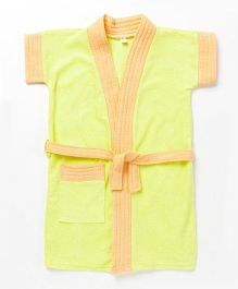 Pebbles Half Sleeves Bathrobe - Yellow & Orange
