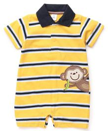 ToffyHouse Striped Romper Monkey Patch - Yellow