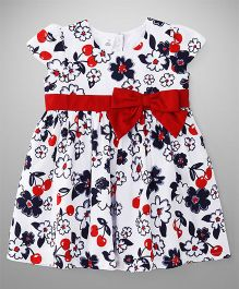 ToffyHouse Short Sleeves Frock Floral Print- Red & White