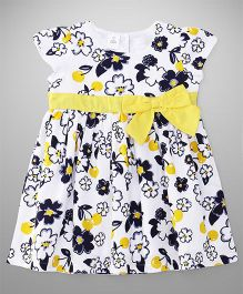 ToffyHouse Short Sleeves Frock Floral Print- Yellow & White