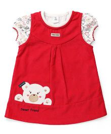 ToffyHouse Frock With Inner Top Bear Patch - Red