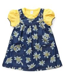 ToffyHouse Dungaree Style Frock With Top Floral Print - Yellow Blue