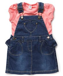 ToffyHouse Dungaree Style Frock With Top - Blue Pink