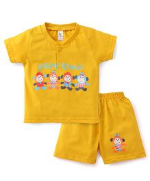 Cucumber Half Sleeves T-Shirt And Shorts Set Forever Friends Print - Yellow