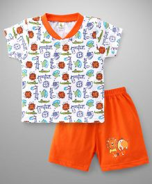 Cucumber Half Sleeves T-Shirt And Shorts Set Animal Print - White Orange