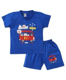 Cucumber Half Sleeves T-Shirt And Shorts Set Bus Print - Royal Blue