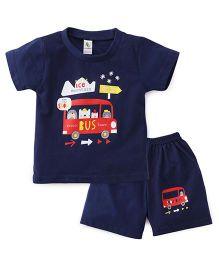 Cucumber Half Sleeves T-Shirt And Shorts Set Bus Print - Dark Blue