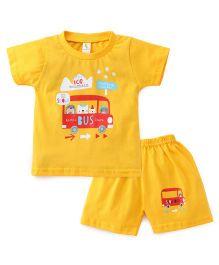 Cucumber Half Sleeves T-Shirt And Shorts Set Bus Print - Yellow
