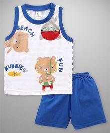 Cucumber Sleeveless T-Shirt And Shorts Set Bear Print - White Royal Blue