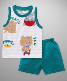 Cucumber Sleeveless T-Shirt And Shorts Set Bear Print - White Green
