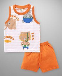 Cucumber Sleeveless T-Shirt And Shorts Set Bear Print - White Orange