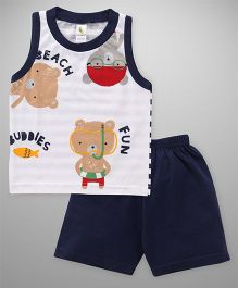 Cucumber Sleeveless T-Shirt And Shorts Set Bear Print - White Dark Blue