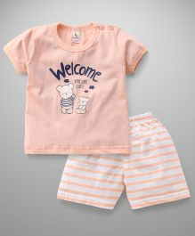 Cucumber Half Sleeves T-Shirt And Shorts Set Bear Print - White Peach