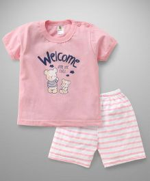 Cucumber Half Sleeves T-Shirt And Shorts Set Bear Print - White Pink