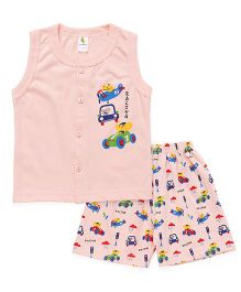 Cucumber Sleeveless T-Shirt And Shorts Set Racing Print - Peach