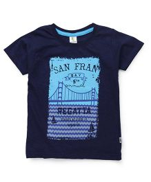 Cucumber Half Sleeves T-Shirt San Fran Print - Navy Blue