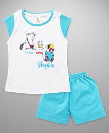 Cucumber Cap Sleeves T-Shirt & Shorts Set - Aqua Blue