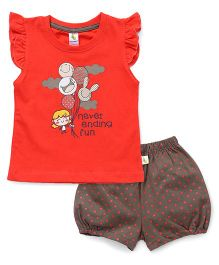 Cucumber Flutter Sleeves T-Shirt & Shorts Set Balloon Print - Orange
