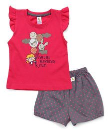 Cucumber Flutter Sleeves T-Shirt & Shorts Set Balloon Print - Dark Pink