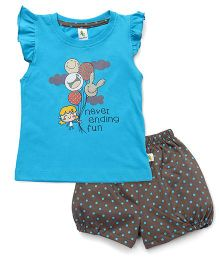 Cucumber Flutter Sleeves T-Shirt & Shorts Set Balloon Print - Blue