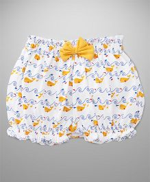 Cucumber Bloomers Whale Print - White Yellow