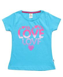 Cucumber Half Sleeves Tee Love Printed - Blue