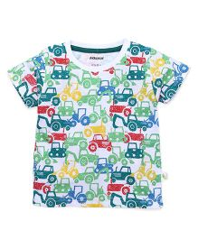 Cucumber Half Sleeves T-Shirt Cars Print - Multi Color