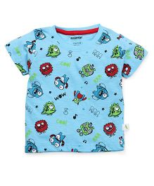 Cucumber Half Sleeves T-Shirt Monsters Print - Blue
