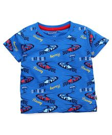 Cucumber Half Sleeves T-Shirt Racing Print - Blue