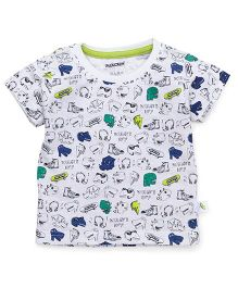 Cucumber Half Sleeves T-Shirt Multi Print - White