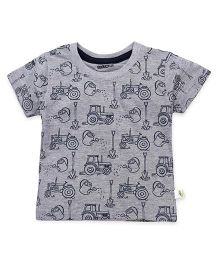 Cucumber Half Sleeves T-Shirt Tractor Print - Grey