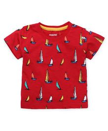 Cucumber Half Sleeves T-Shirt Boats Print - Red