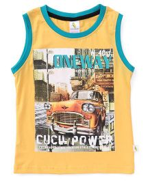 Cucumber Sleeveless T-Shirt Car Print - Yellow
