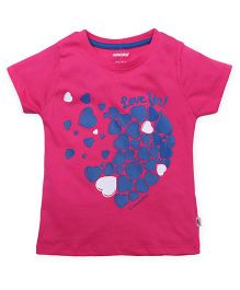 Cucumber Half Sleeves T-Shirt Hearts Print - Pink