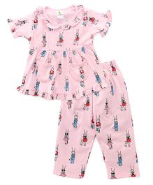 Cucumber Half Sleeves Printed Night Suit - Light Pink