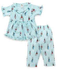 Cucumber Half Sleeves Printed Night Suit - Aqua Blue