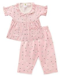Cucumber Half Sleeves Night Suit Printed - Pink