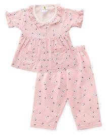 Cucumber Half Sleeves Night Suit Printed - Pink