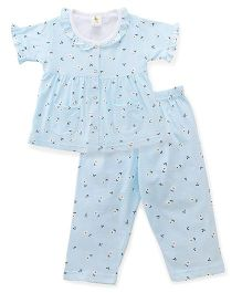 Cucumber Half Sleeves Night Suit Printed - Blue