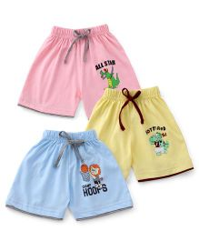 Cucumber Shorts Pack of 3 - Pink Light Yellow Sky Blue
