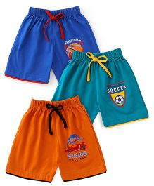 Cucumber Shorts Pack of 3 - Navy Blue Green Orange
