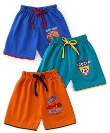 Cucumber Shorts Pack of 3 - Navy Blue Green Orange