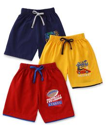 Cucumber Shorts Pack of 3 - Navy Blue Yellow Red