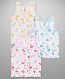 Cucumber Sleeveless Vests Pack Of 3 - Pink Blue Yellow