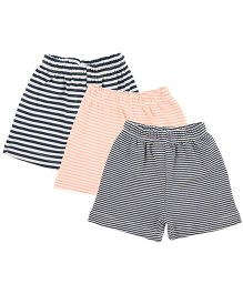 Colorfly Striped Shorts Pack Of 3 - Navy & Peach